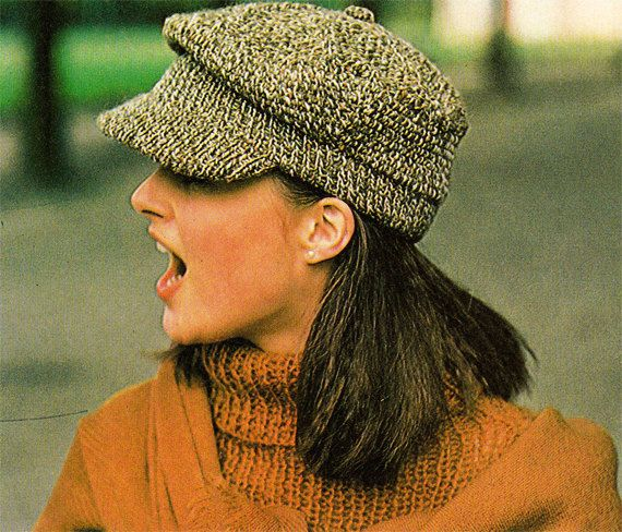 Knit Caps & Hats 1980s VINTAGE PATTERN, Newsboy Cap, Military Cap ...