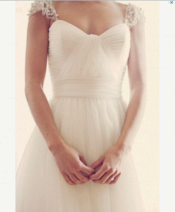 2014 sweetheart beaded tulle cap sleeve wedding dress bridal gown ...