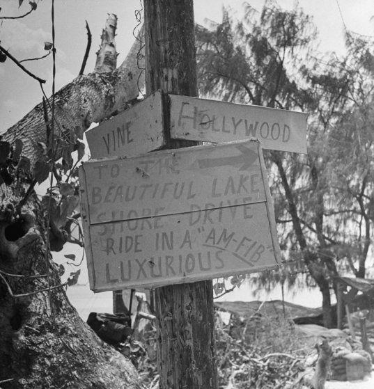 """""""Hollywood and Vine,"""" Saipan, 1944."""
