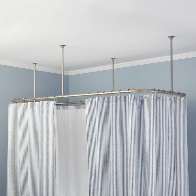 Rectangular Ceiling Mount Shower Curtain Rod Bathroom Clawfoot