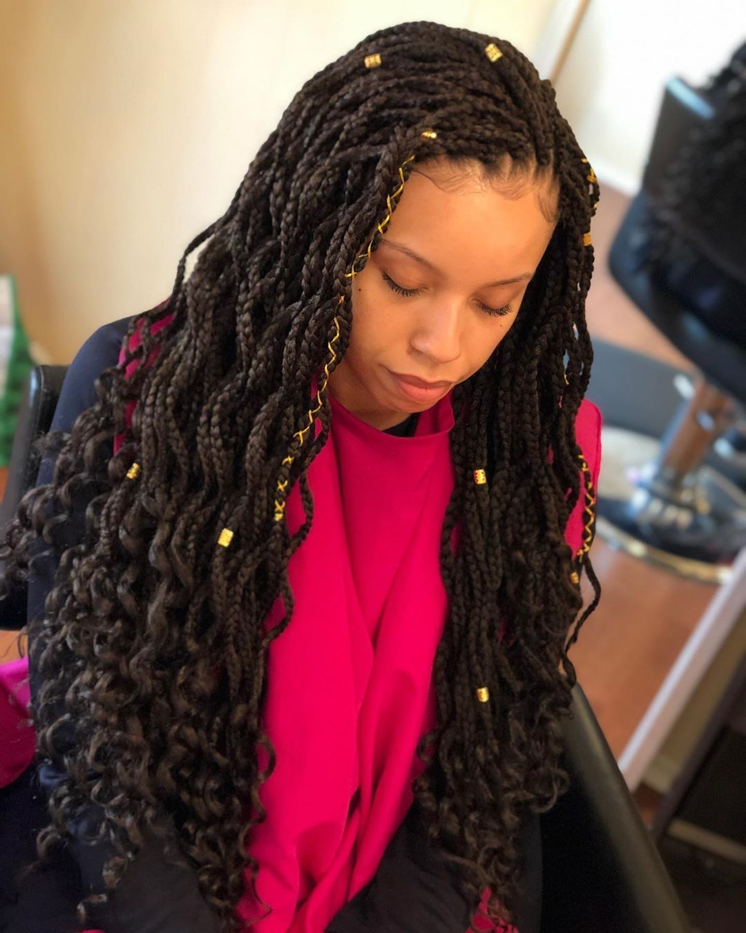 Goddess Box braids, wave box braids with curly ends   Black girl braids, Crochet braids ...