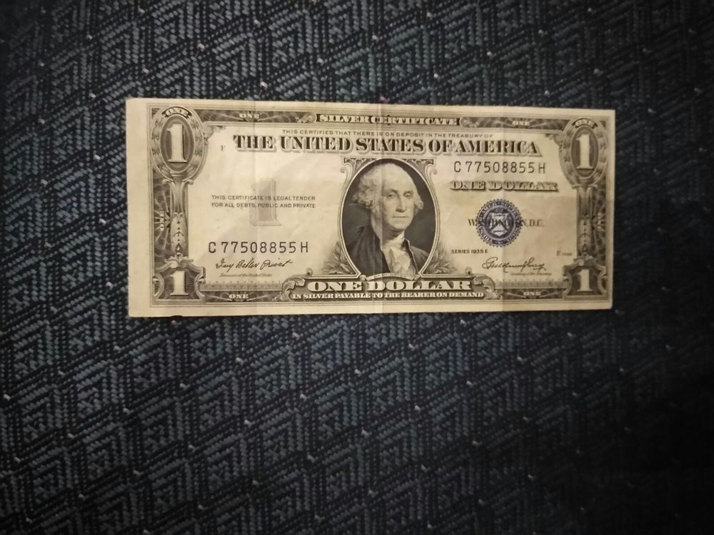 1935 E One Dollar Silver Certificate Star Note Gold Silver