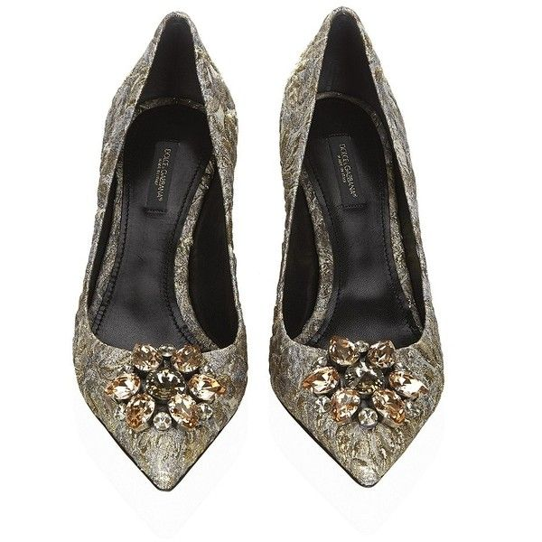 Dolce & Gabbana Hodge Embellished Brocade Pump (11.927.090 IDR) ❤ liked on Polyvore featuring shoes, pumps, pointy toe kitten heel pumps, decorating shoes, pointed-toe pumps, pointy toe shoes and kitten heel shoes