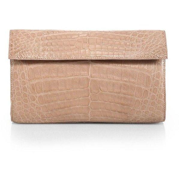 Nancy Gonzalez Crocodile Clutch (19 185 ZAR) ❤ liked on Polyvore featuring bags, handbags, clutches, apparel & accessories, fold over handbag, croco handbags, beige handbags, foldover purse and crocodile purse