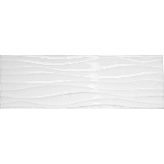 Faïence Mur Blanc Brillant Décor Relief Wave L25 X L75 Cm