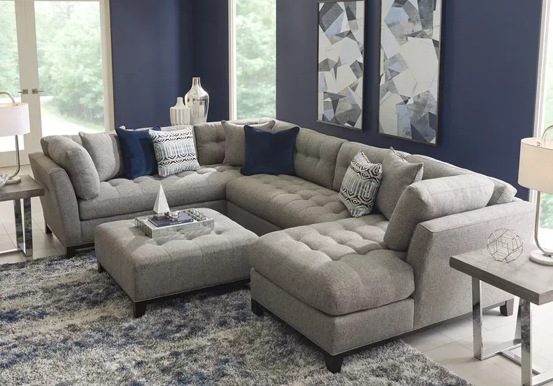 Cindy Crawford Home Metropolis Way Gray Textured 3 Pc Sectional Rooms To Go Rooms To Go Sectional Grey Sectional #rooms #to #go #living #room #tables