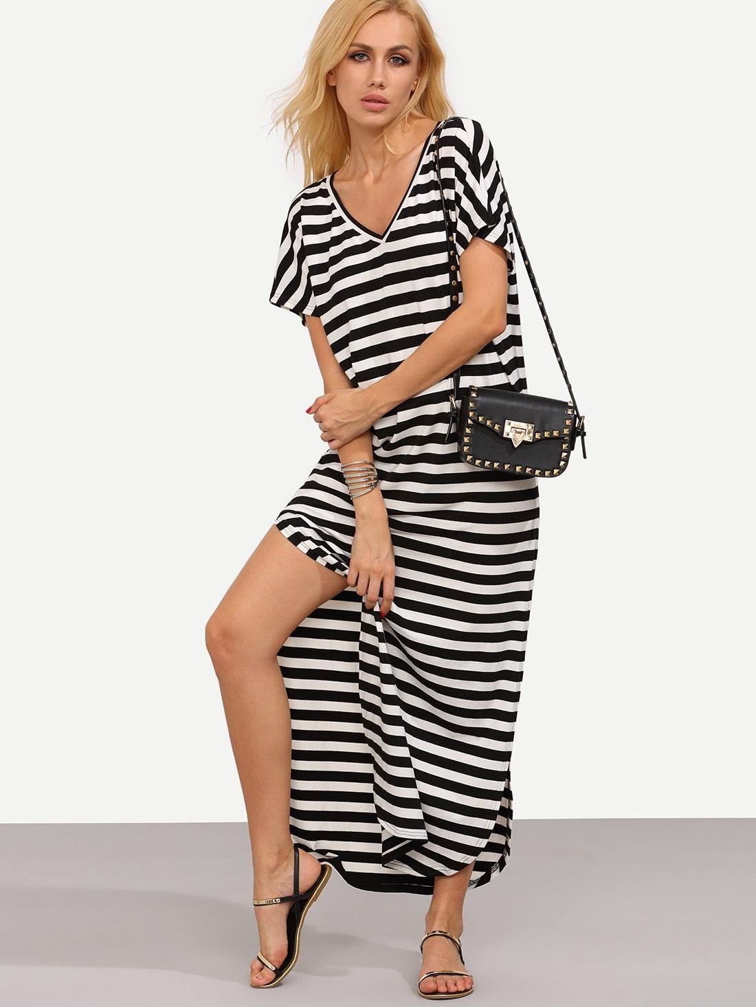 Adorewe shein sheindesigner womens stripe curved hem long