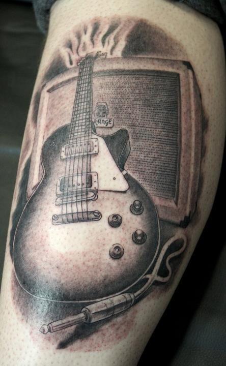 cool guitar tattoos the image kid has it. Black Bedroom Furniture Sets. Home Design Ideas