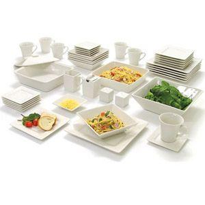 10 Strawberry Street Nova Square Banquet 45 Piece Dinnerware Set Walmart Com Dinnerware Set Square Dinnerware Set White Dinnerware Set