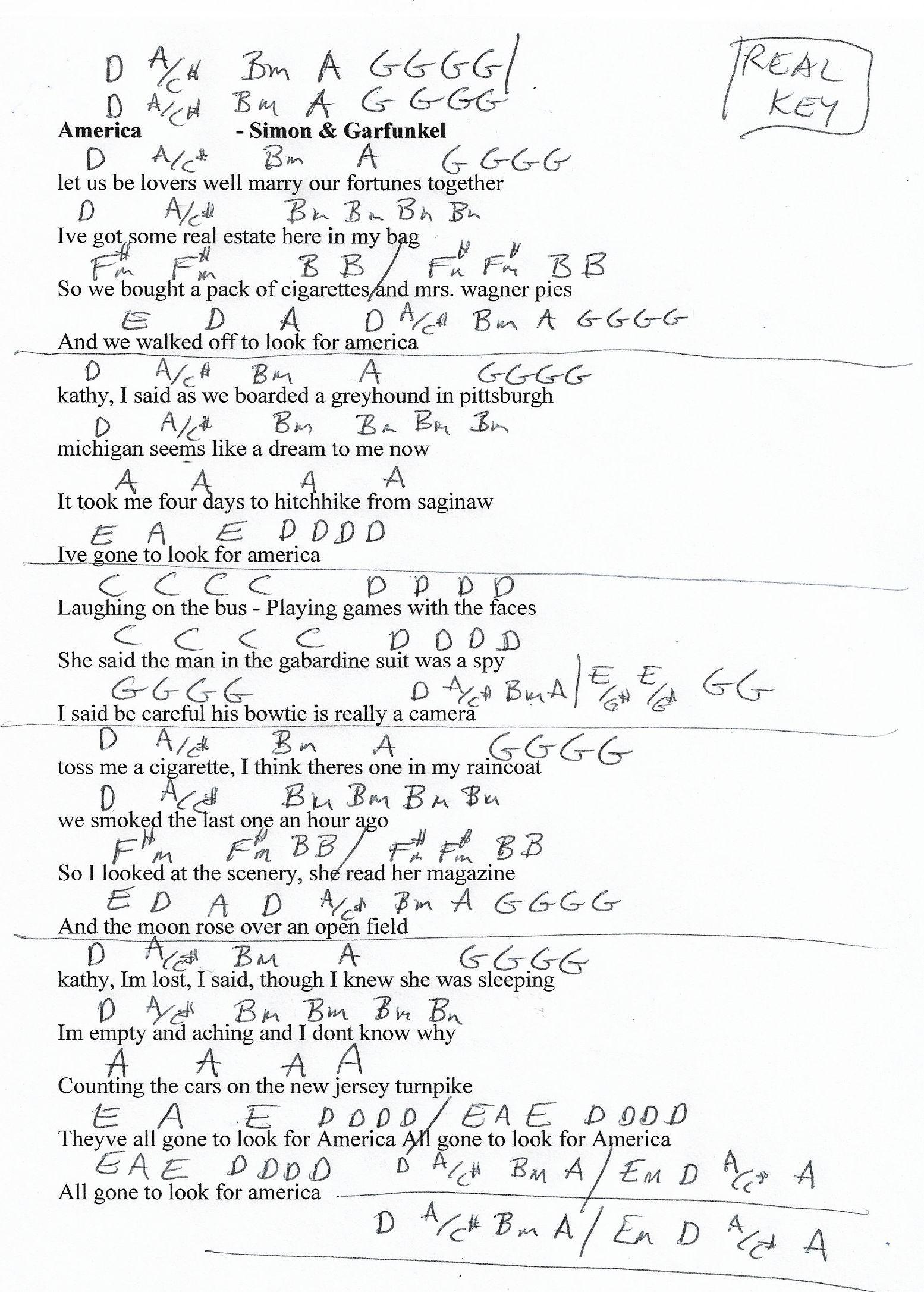 America Simon And Garfunkel Guitar Chord Chart In D Real Key