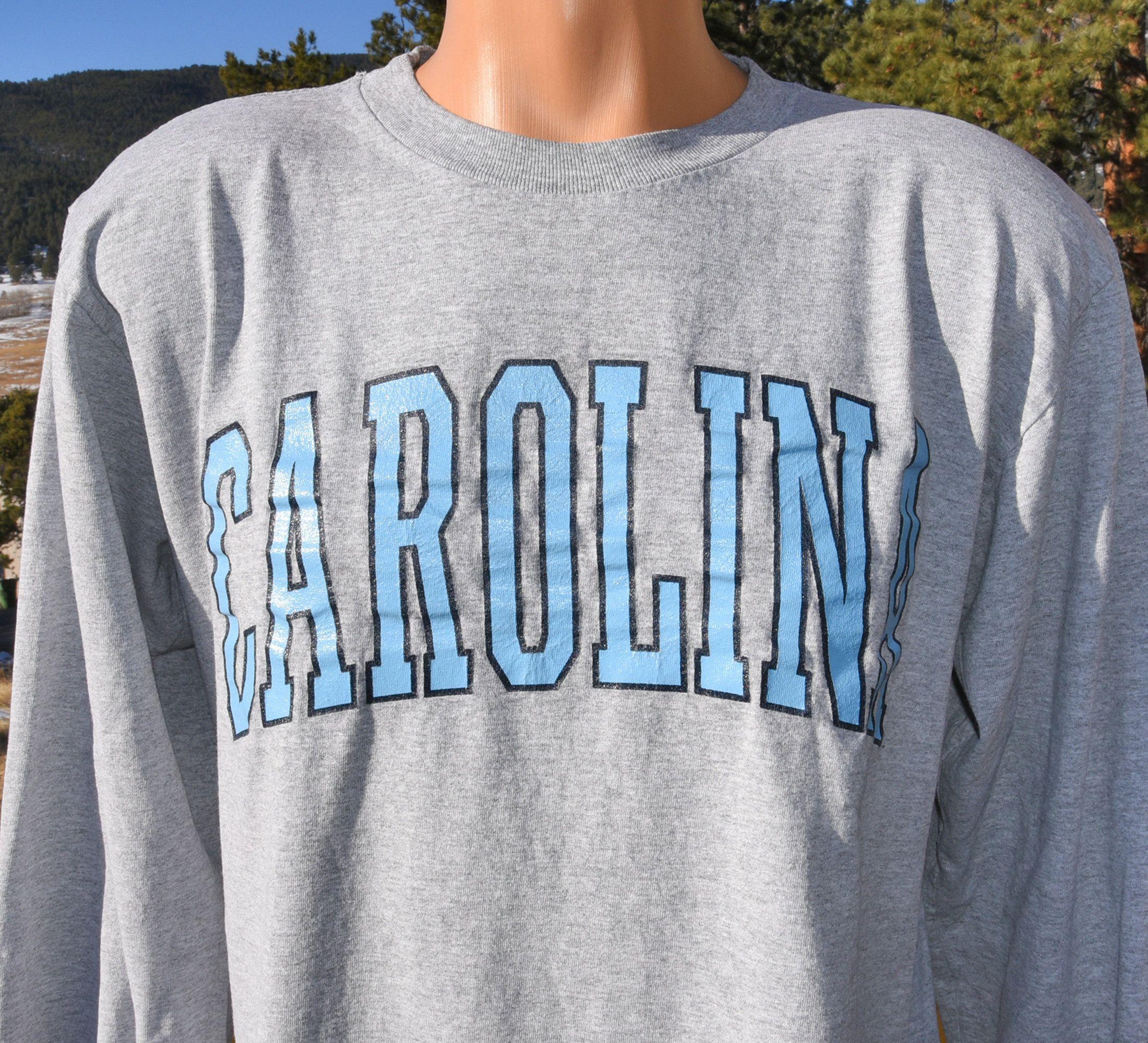 Vintage 90s Tee Unc University North Carolina Tar Heels Long Sleeve T Shirt Large Medium Unc Sweatshirt 90s Tees Shirts [ 2000 x 2200 Pixel ]