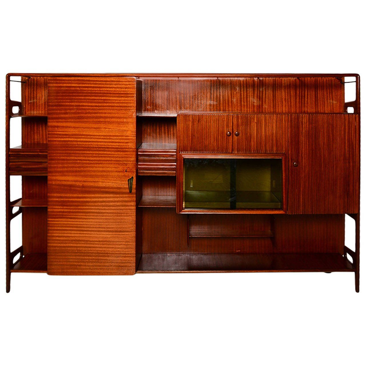 Mid Century Modern Italian Wall Unit Attributed to Vittorio Dassi ...