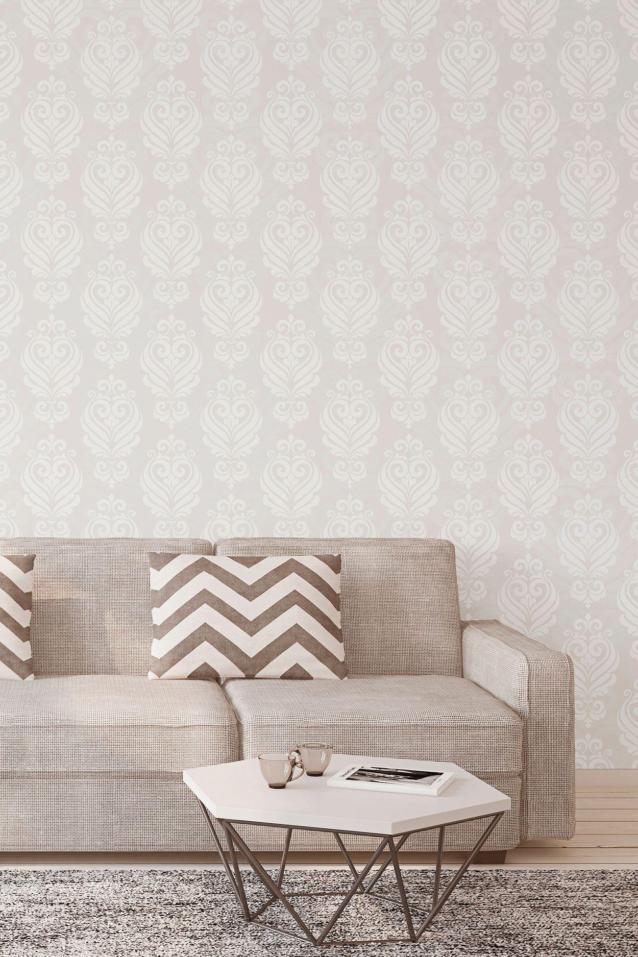 Beige Damask Basic Fabric Removable Wallpaper 4775 Living