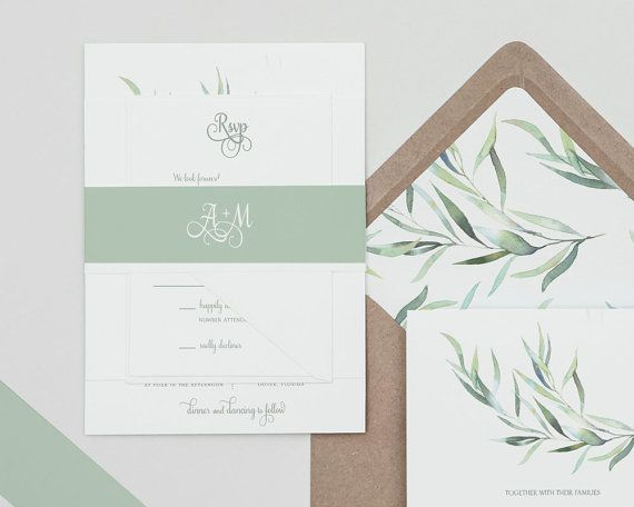 Modern Greenery Wedding Invitations Set Eucalyptus Greenery