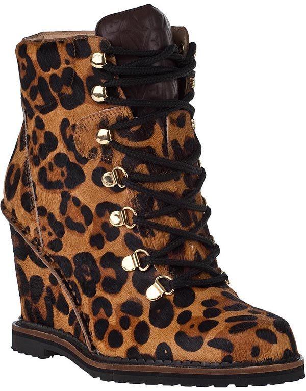 Leopard Print Wedge Bootie