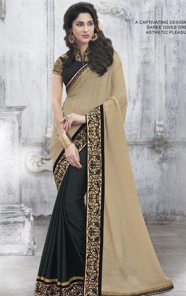 Picture of Mystical Cream and Black Party Wear Designer Saree
