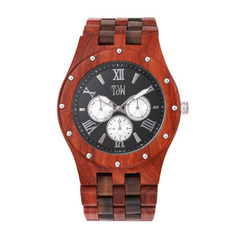 (26.91$)  Know more  - Red And Black Ebony Wooden For Mens Business Gifts With Calender Japan Movment With Paper Box