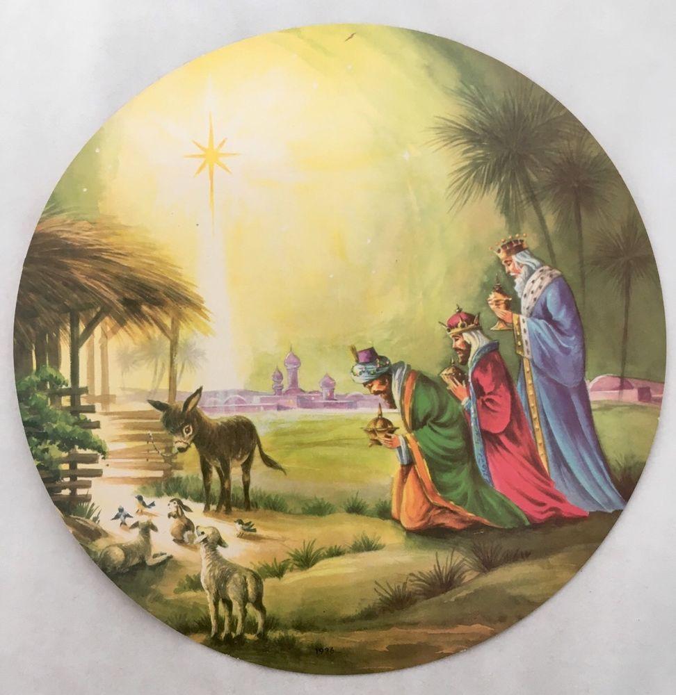 Unused Mid Century Three Wise Men Nativity Scene Vintage Round Christmas Card