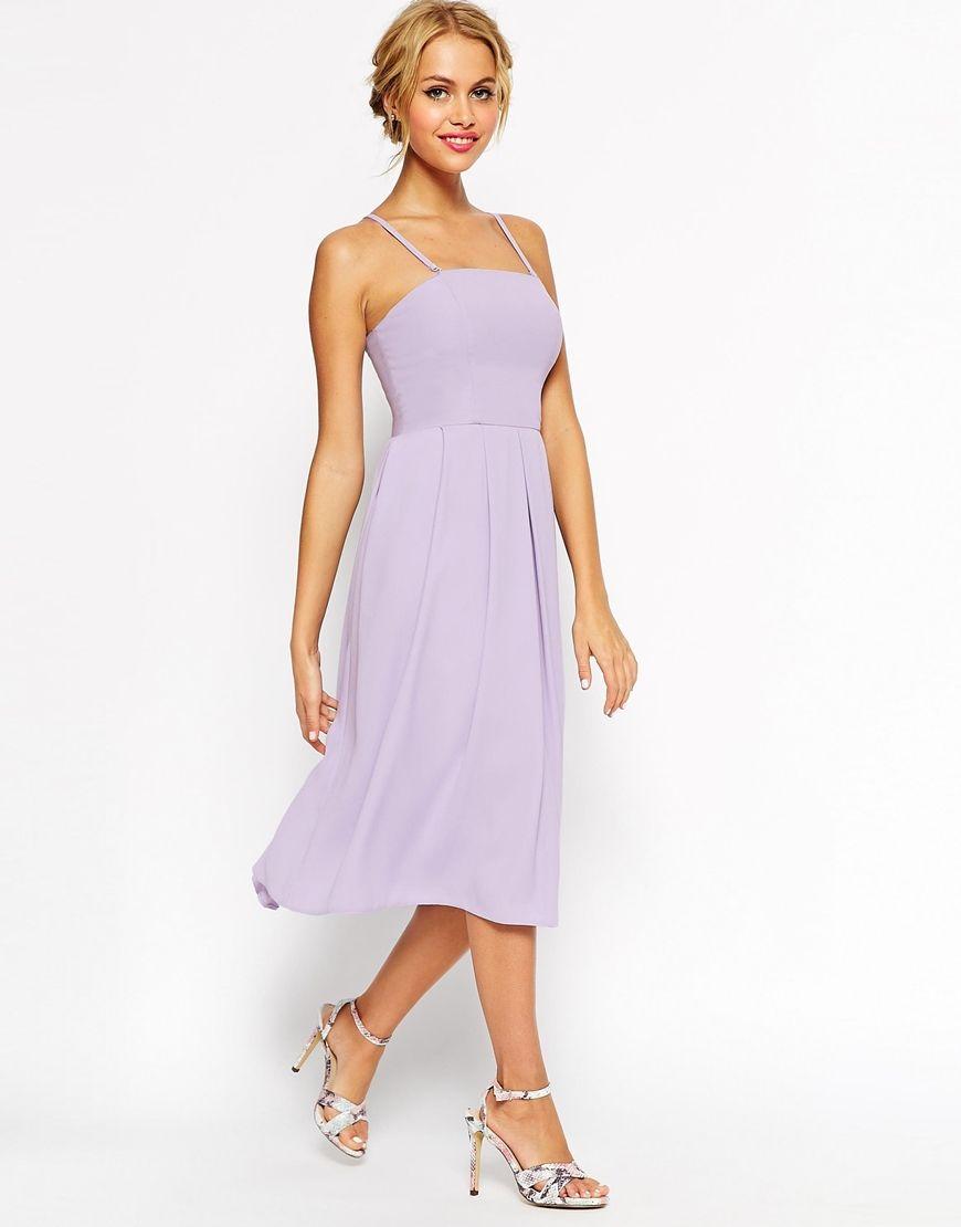 Image 1 Of ASOS WEDDING Bandeau Midi Dress