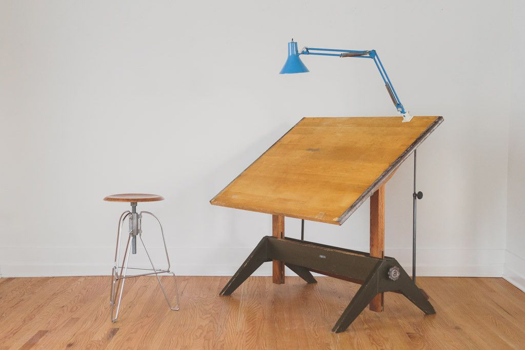 Vintage Industrial Mayline Drafting Table   Solid Oak, Cast Iron Hardware,  Adjustable Height And