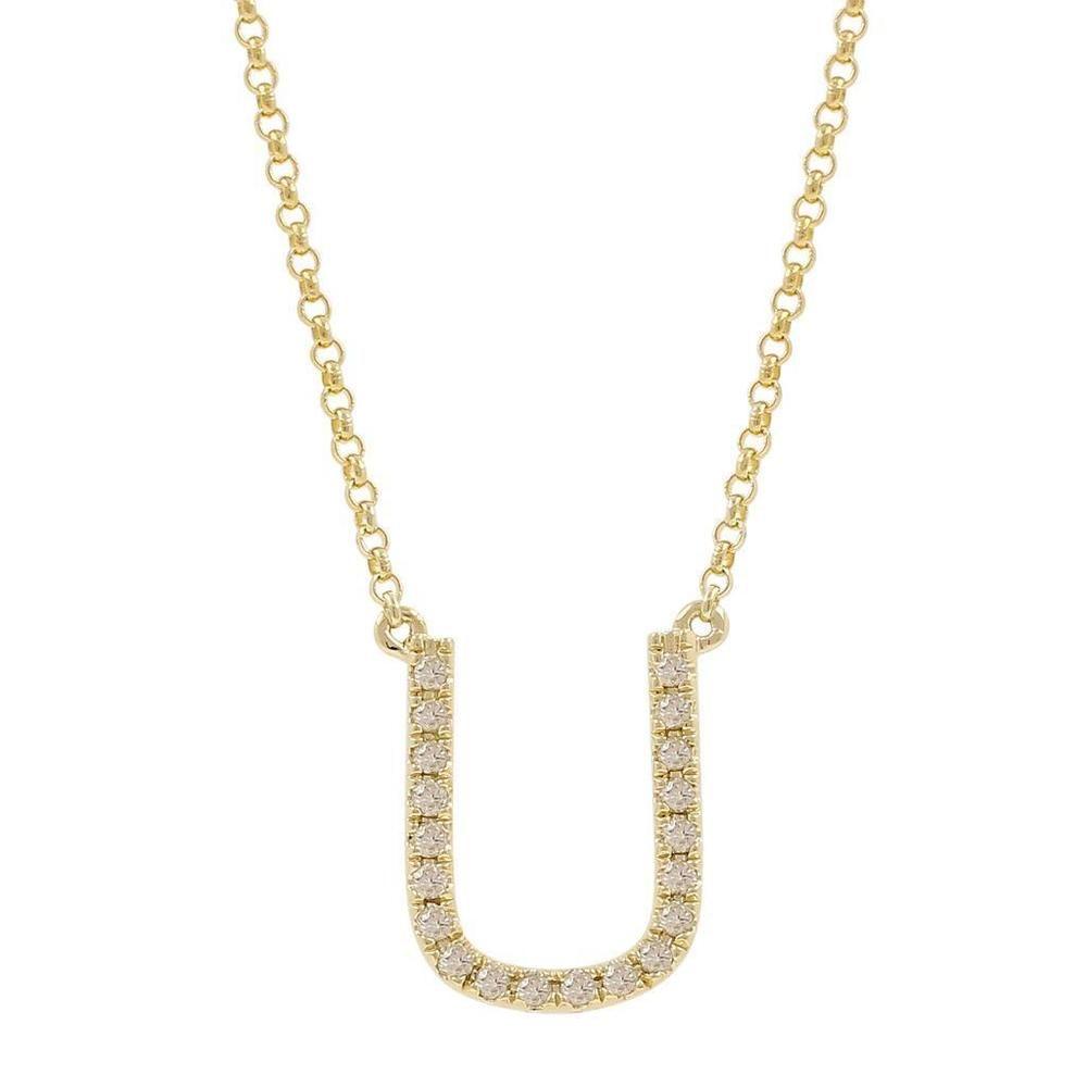 Womenus k yellow gold diamond studded letter