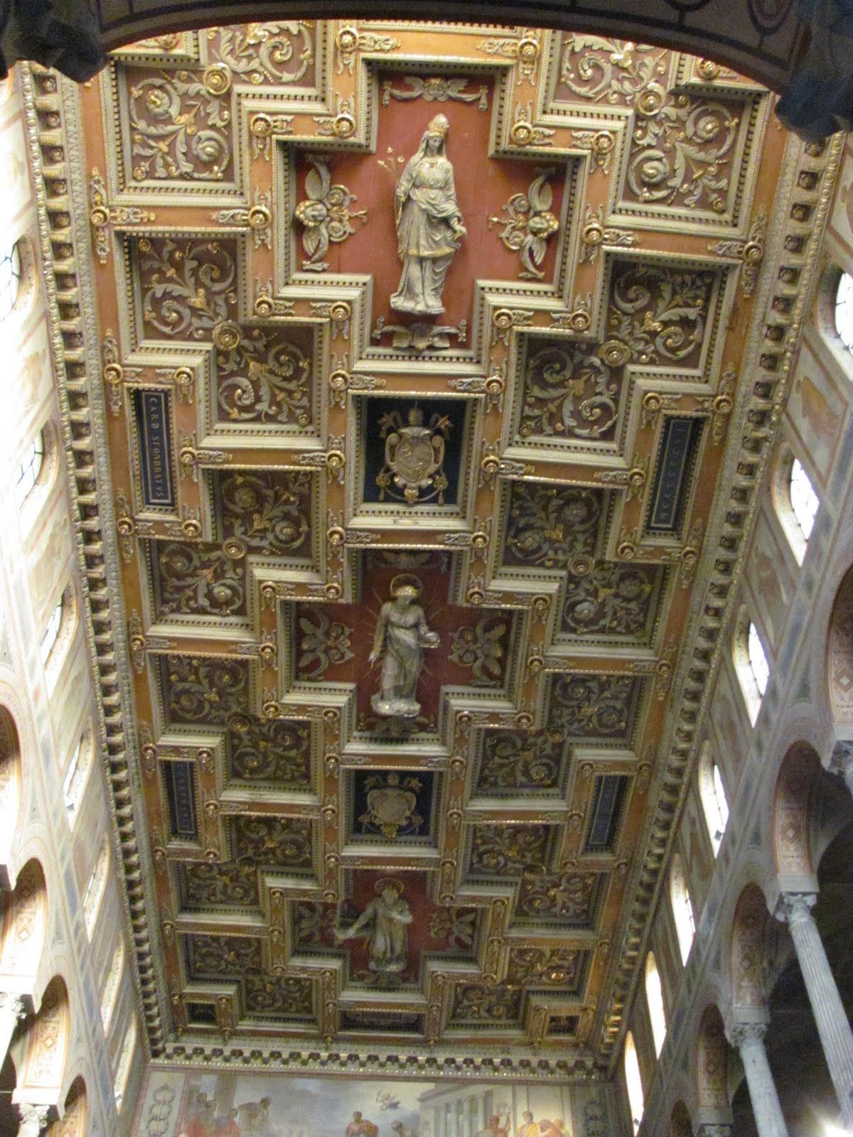 The Wooden Coffered Ceiling Of The Nave