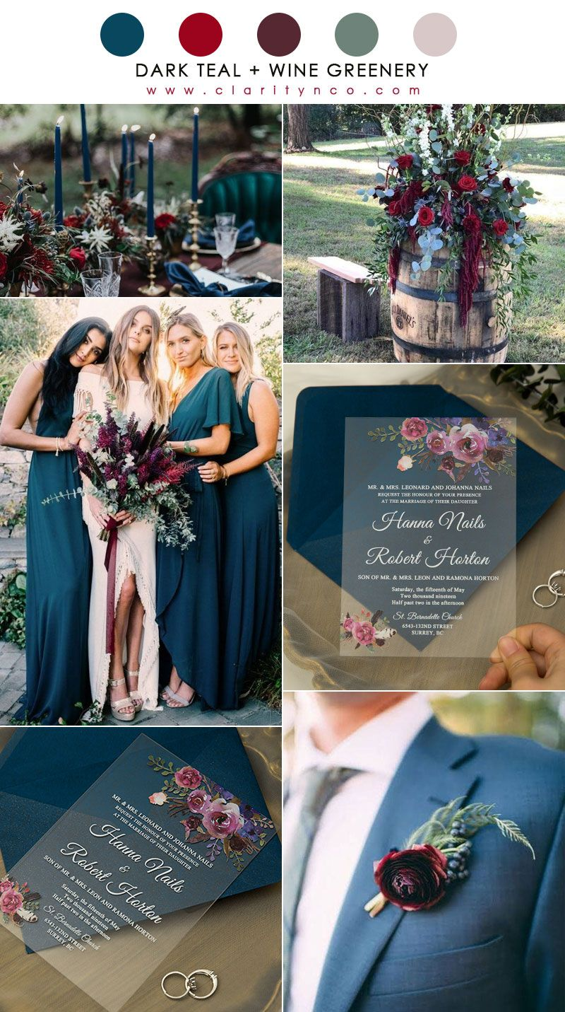 Dark Teal and Wine Greenery Wedding Color Combo for Fall Winter Weddings 2020