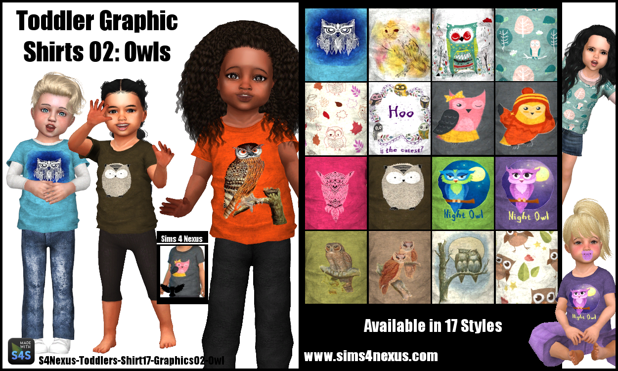 toddler graphic shirts 02 owls original content sims 4 nexus