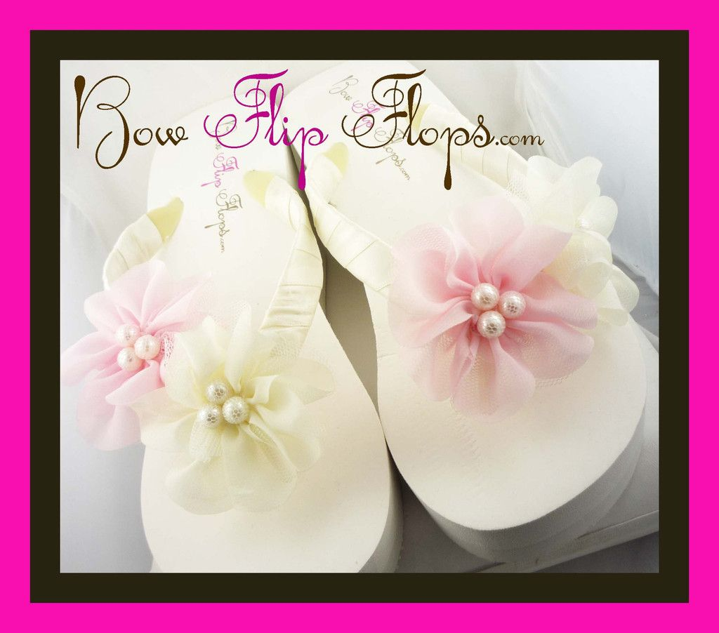 b84e977d8 Wedding Flip Flops -Pink   Ivory Pearl Chiffon Flower - Bride Wedge -  Bridesmaid Platform