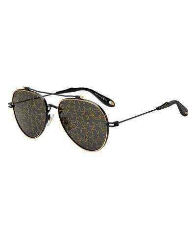 db5a052cbe Givenchy Men s GV 7057 Aviator Sunglasses with Star-Pattern Lens  givenchy   sunglasses