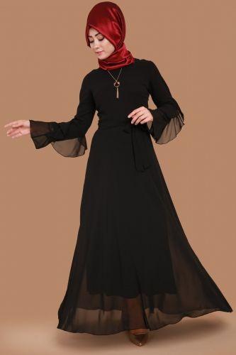 B N M Tesettur Kollari Volanli Sifon Elbise Bnm00176 Siyah 1 Moda Stilleri Sifon Elbise Kadin