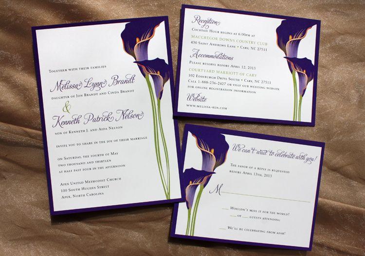 Dark Purple Lime Green Calla Lily Wedding Invitations Lily