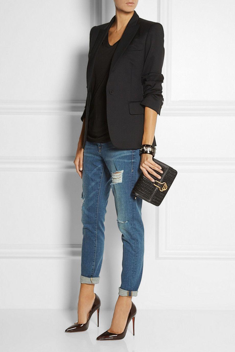 Christian Louboutin shoes, Stella McCartney jacket, T by Alexander Wang top, Ashley Pittman bracelet, Frame Denim jeans, Maiyet bag.