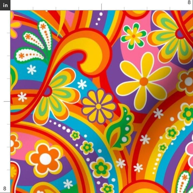 1960s Fabric - 60's Psychedelic Flower Power By Mia Valdez - Paisley Colorful Rainbow Daisy Peace Cotton Fabric By The Yard With Spoonflower