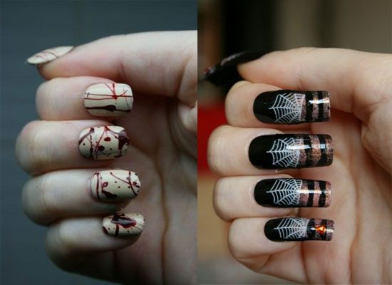 25 simple easy scary halloween nail art designs ideas pictures blood splatter web nail art ideas for halloween prinsesfo Choice Image