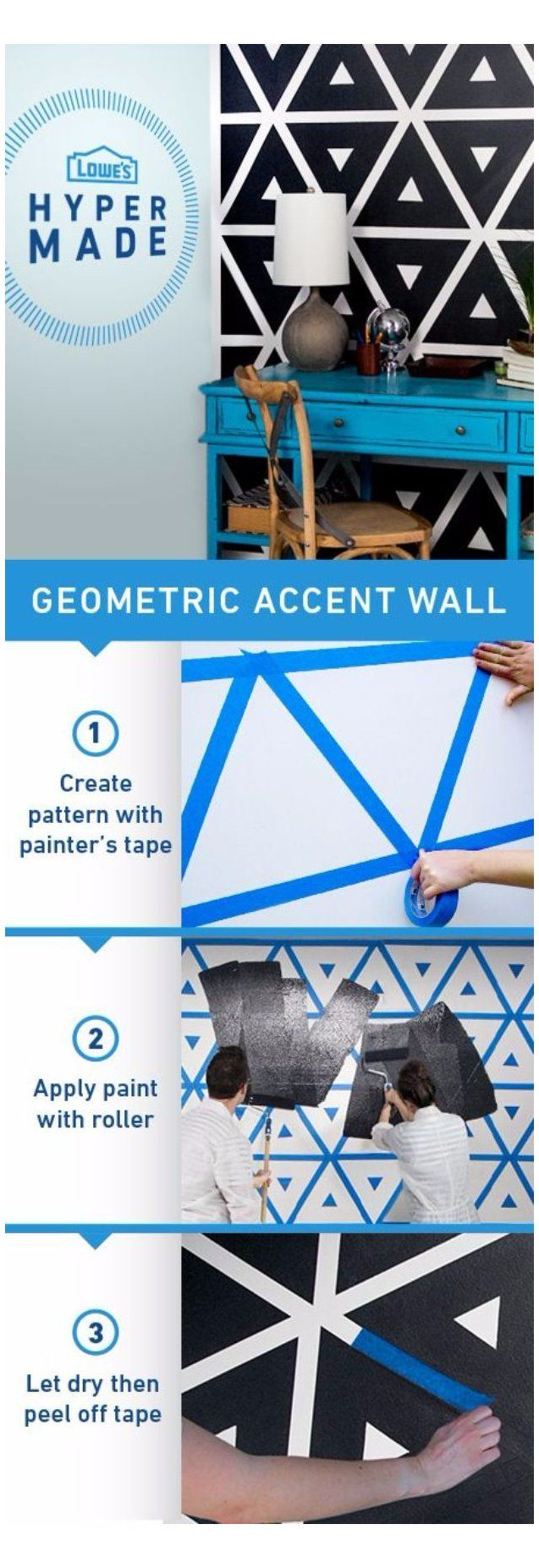 DIY Ideas for Painting Walls - Geometric Accent Wall - Cool Ways To Paint Walls - Techniques, Tips, Stenc #creativedesign