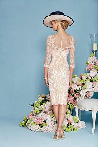 Newdeve Light Pink Lace 3/4 Sleeves Knee Length Formal Mother ...
