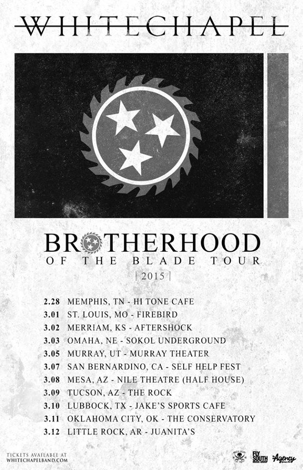 """NEWS: The metal band, Whitechapel, have announced a short U.S. tour, for March, called the """"Brotherhood of The Blade Tour."""" They will also be playing Self Help Fest on March 7th. You can check out the dates and details at http://digtb.us/-whitechapel"""