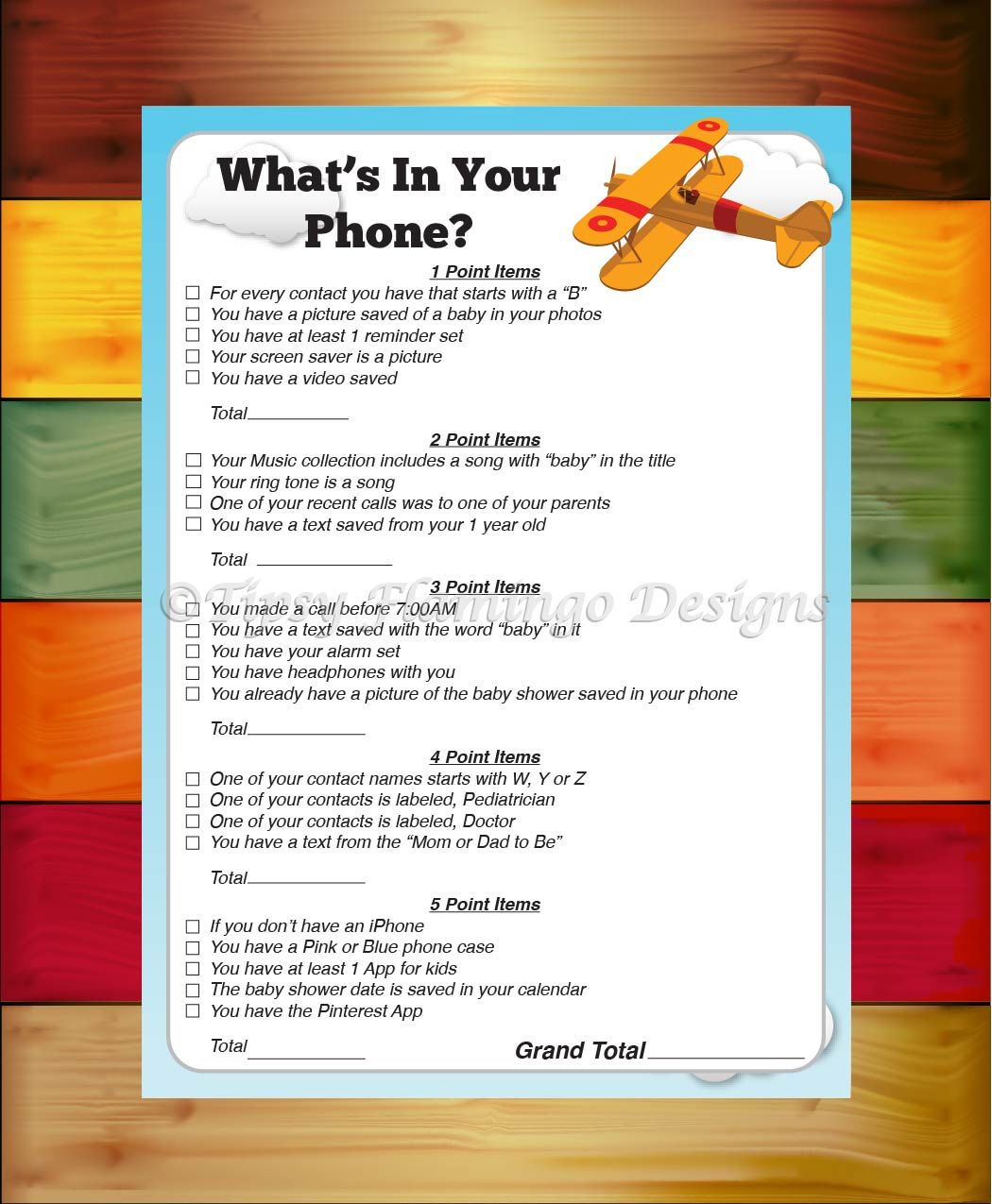 What S In Your Phone Game Baby Shower Game Shower Game Baby Shower Airplane Aviation Theme