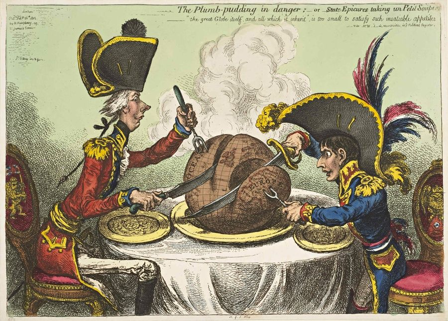 James Gillray | The Plum-pudding in Danger 1805