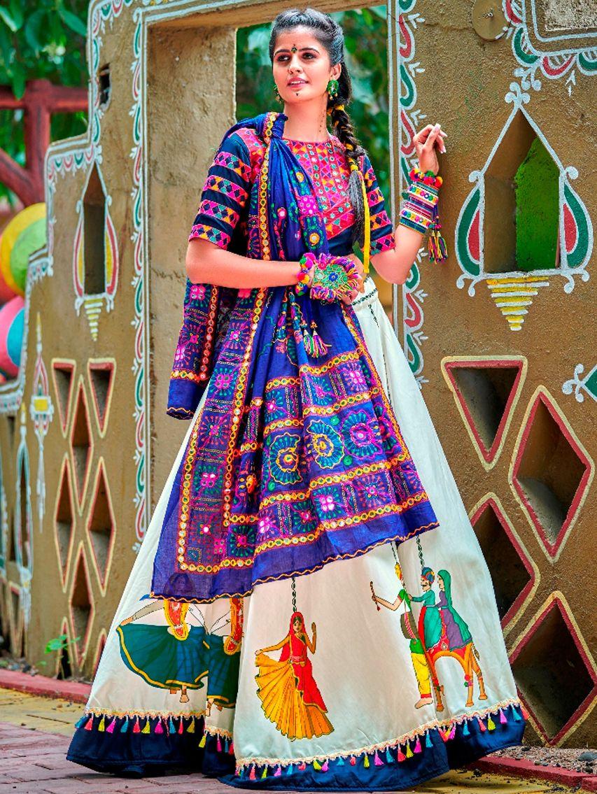 Off White and Blue Cotton Digital Printed Chaniya Choli with Tasseled Lace #chaniyacholi