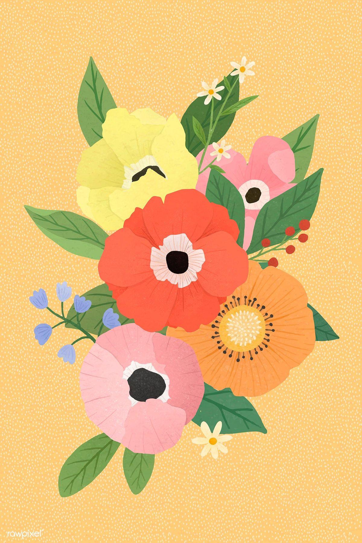 Download premium vector of Hand drawn flower pattern