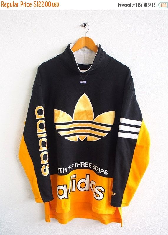 reputable site e0bc5 7b2ce BIG SALE 25% Vintage 80 s ADIDAS Big Logo Gold Trefoil Sportswear  Multicolor Run Dmc Pullover Crewneck yellow Sweater Sweatshirt Size L