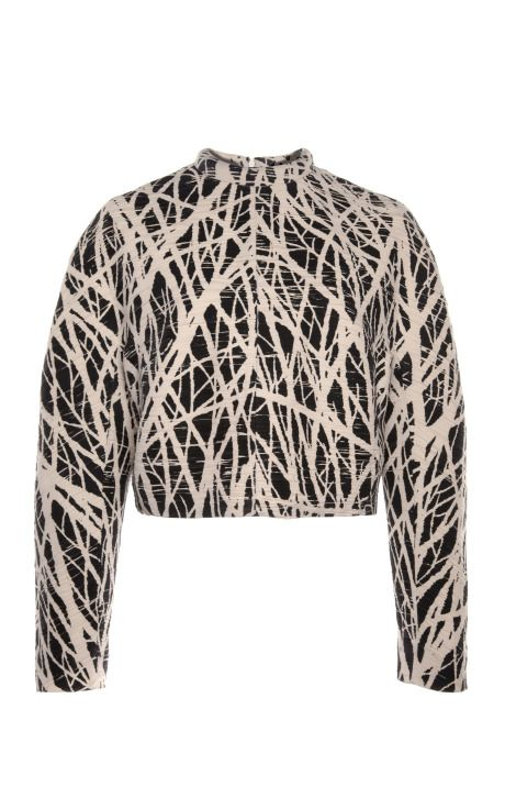 Tree Printed Pleated Crepe Long Sleeved Top With Pleats by Proenza Schouler for Preorder on Moda Operandi