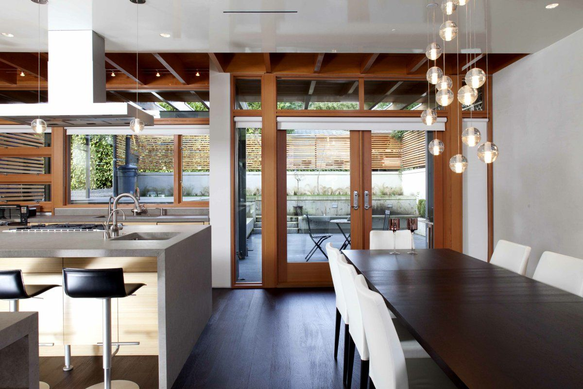 View to dining and rear patio from living | Design | Pinterest