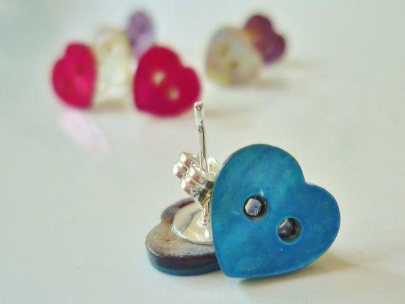 Blue shell button stud earrings by wiggiewoo on Etsy, £3.50
