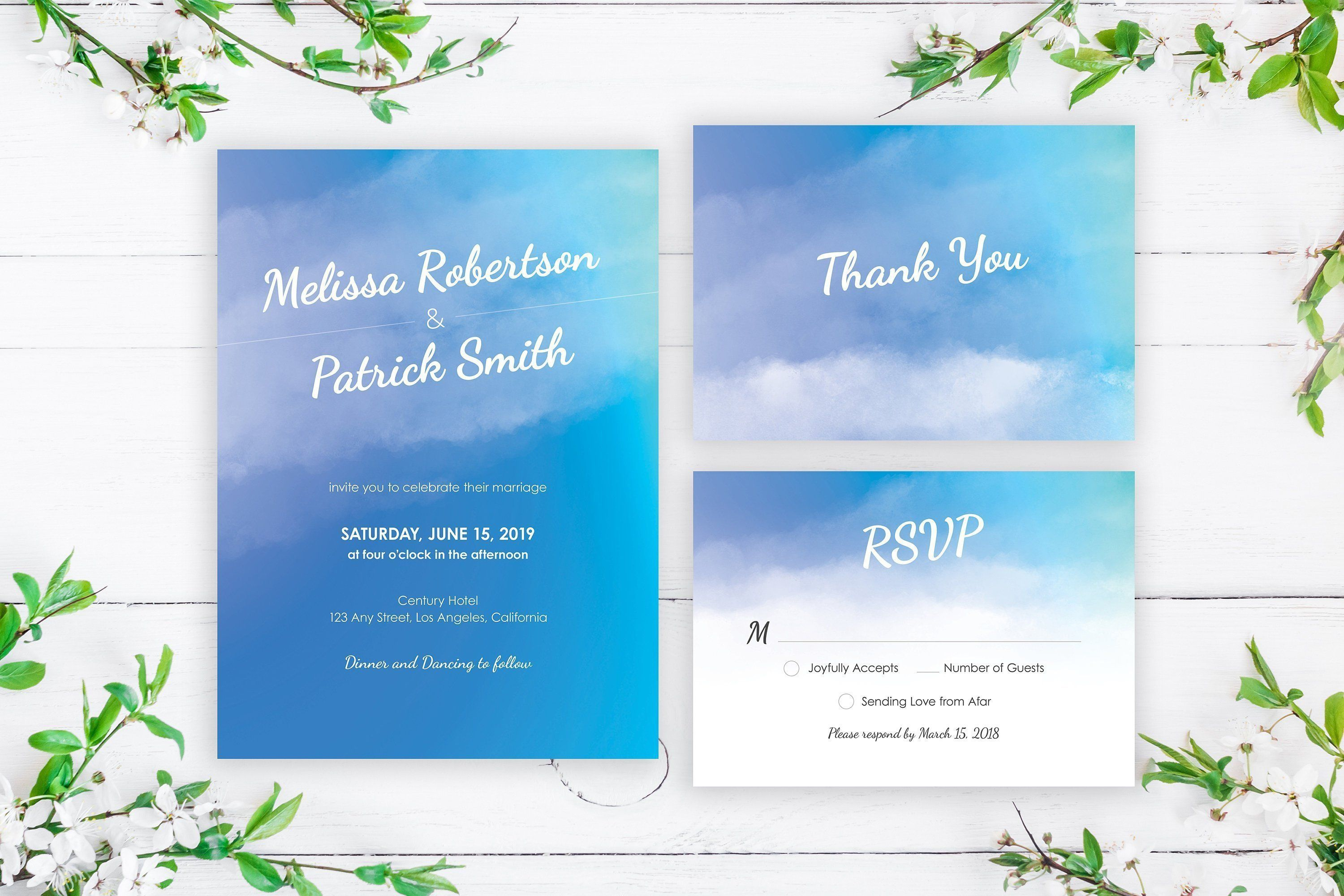 Blue Watercolor Wedding Invitation Template, Blue Ombre ...