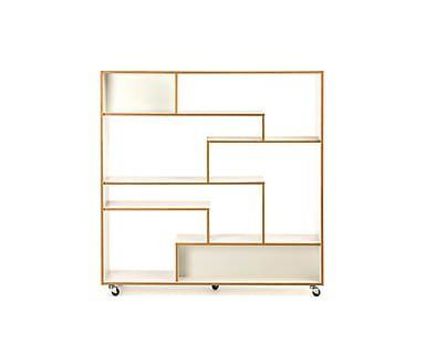 boekenkast op wielen theo witnaturel b 140 cm