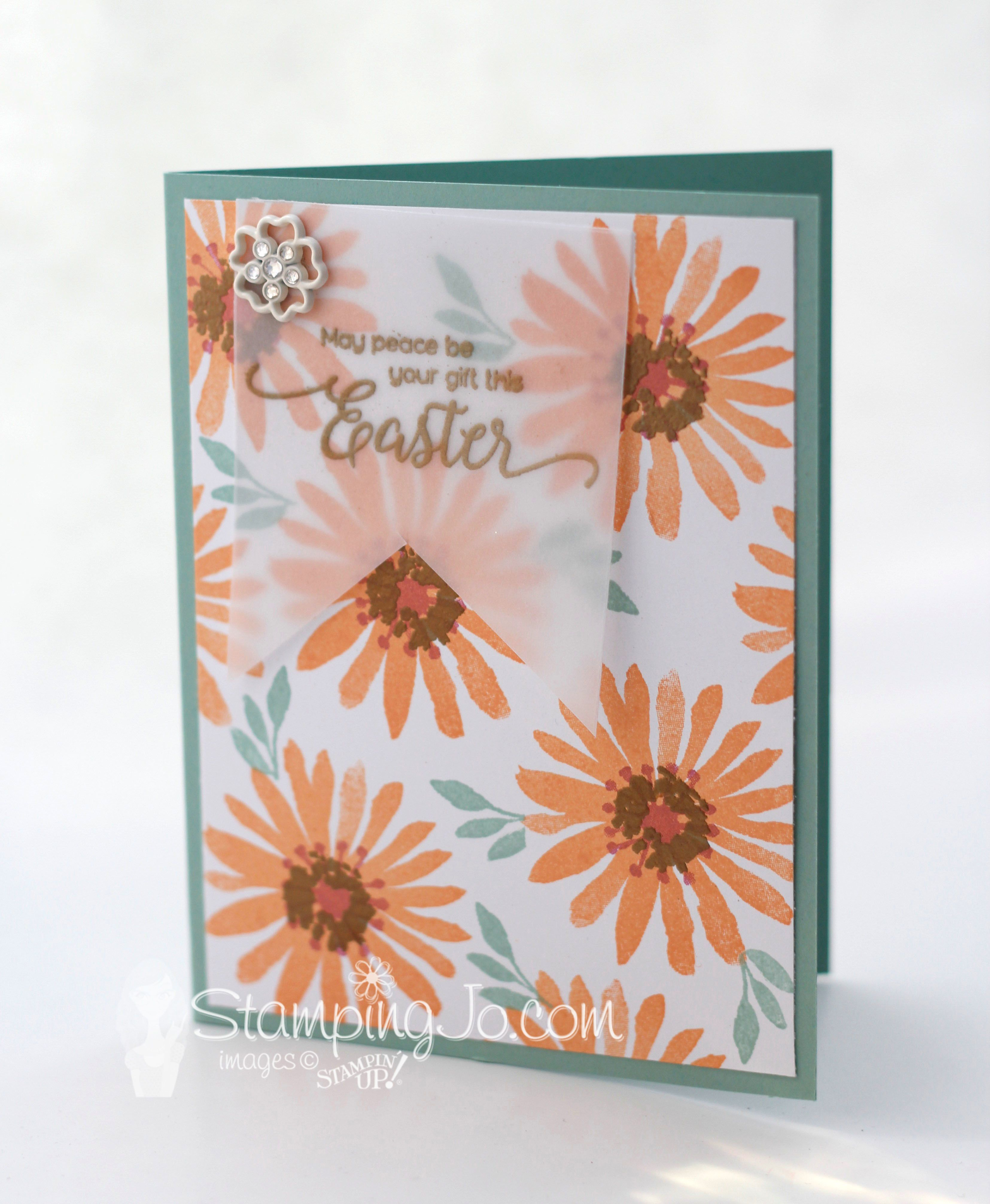 stamped Easter card, Stampin Up, Blooms and Wishes stamp set