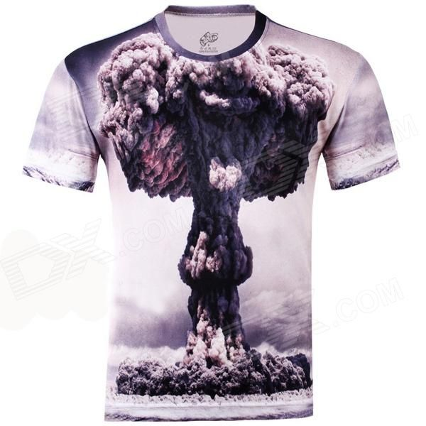 LaoNongZhuang 3D Atomic Bomb Pattern Round Neck Leisure T-Shirt - Grey (Size XXXL)